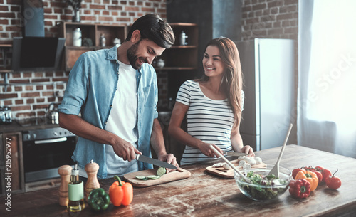 Fototapeta Romantic couple on kitchen obraz