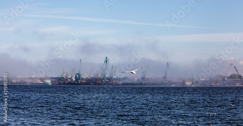 In de dag Poort Fog over Klaipeda Seaport