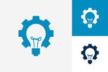 Gear Idea Bulb Lamp Logo Template Design Vector, Emblem, Design Concept, Creative Symbol, Icon
