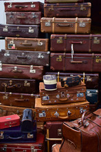 Stack Of Old Suitcase - Many Brown Leather Travel Luggage