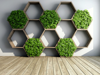 FototapetaDecorative shelves and vertical garden