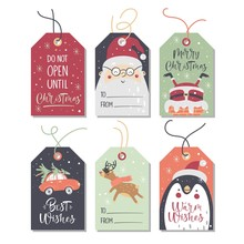 Christmas Tags Collection. Vector Illustration.