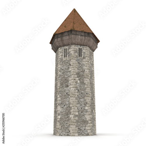 Medieval Tower on white. 3D illustration Fotomurales