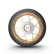 Sport Motorcycle Back Wheel On White. 3D Illustration