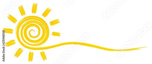 fototapeta na ścianę Символ яркого летнего солнца с лучами.