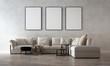 Leinwanddruck Bild - Modern minimal living room interior design and concrete texture wall pattern background