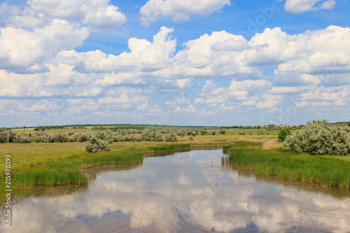Papiers peints Riviere Summer landscape with small river and blue cloudy sky