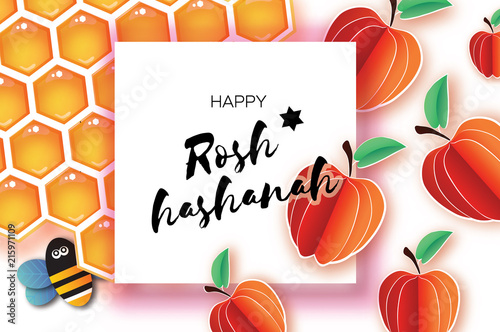 jewish new year rosh hashanah greeting card origami apple with honey gold cell and
