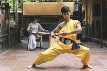 Vietnam, Hanoi, Young Man Exercising Kung Fu