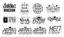 Set Of 12 Hand Lettering Christian Quotes Be Strong In The Lord. Ask,seek,knock. Faith,hope,love. Bible Reading Plan. Thankful. He Is Risen.