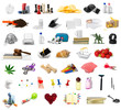 canvas print picture - big collection of different objects isolated on white background