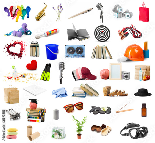 Obraz big collection of different objects isolated on white background - fototapety do salonu