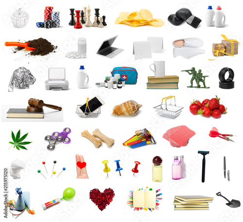 Fotografie, Obraz big collection of different objects isolated on white background