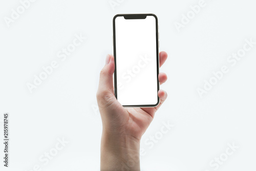 Pinturas sobre lienzo  close up hand hold phone isolated on white, mock-up smartphone white color blank