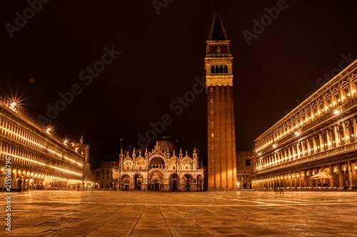 Fotografía  Praça de S.Marcos durante a noite, Veneza, Itália