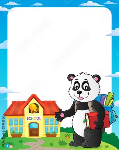 Foto op Plexiglas Voor kinderen School panda theme frame 1