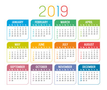 Year 2019 Calendar Vector Temp...