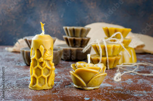 handmade candles in shape rose  made from natural beeswax Canvas Print