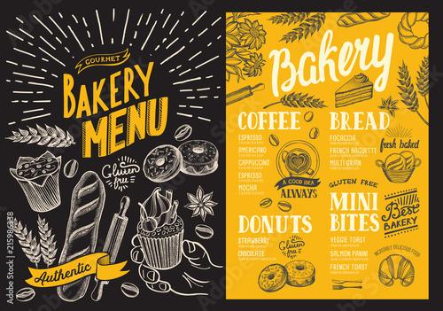 Fotografia Bakery menu for restaurant