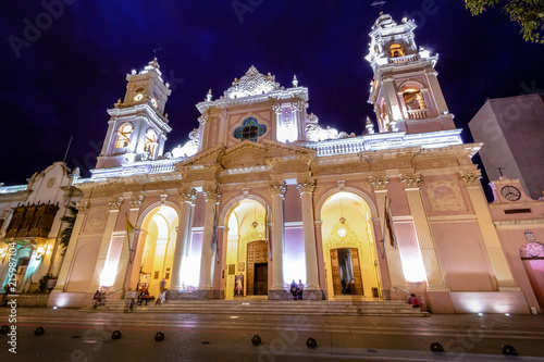 Cathedral Basilica of Salta at night - Salta, Argentina Wallpaper Mural