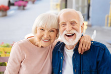 Strong Relationships. Gay Senior Couple Making Laugh And Looking At Camera