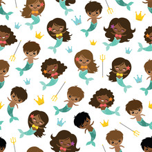 Vector People Of Color Mermaids And Mermen Seamless Pattern Background