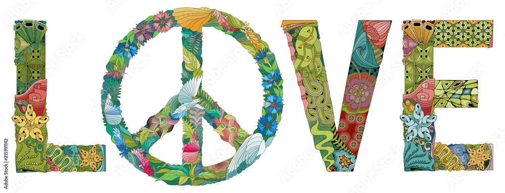 Fototapeta Word LOVE with the symbol of peace. Vector decorative zentangle object