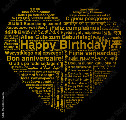 Photo  Happy Birthday in different languages wordcloud in heart shape greeting card