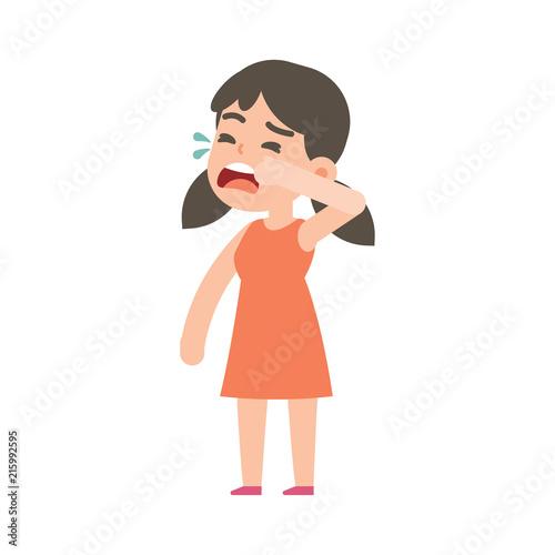 Fotografija Cute little girl crying, vector character illustration.