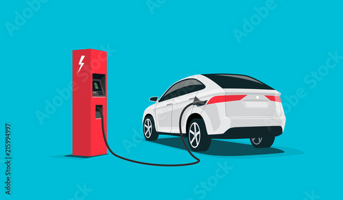 Flat Vector Illustration Of A White Electric Car Suv Charging At The Red Charger Station