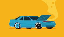 Broken Car. Vector Cartoon Flat Illustration