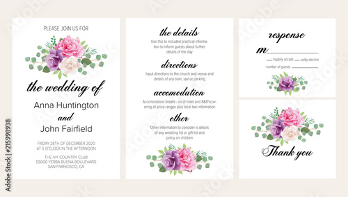 Floral Wedding Invitation Set With Blush Pink Peony Purple And