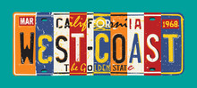 California West Coast License Plate Vector Grunge Patchwork