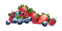 Raspberries, Blueberries And S...