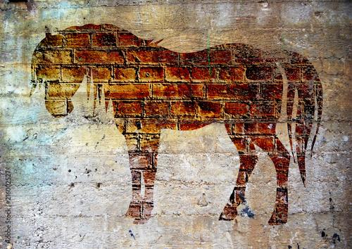 Graffiti, cheval sur un mur . © brimeux