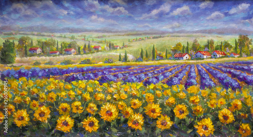 Tuinposter Honing Tuscany summer Italian landscape. Violet blue lavender field, a yellow sun flower sunflowers, white houses with red roofs a bright palette knife painting, impressionism illustration nature artwork art