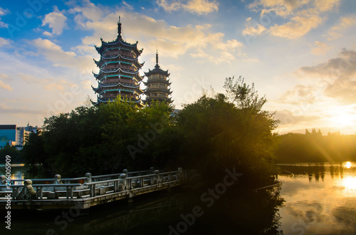 Foto op Canvas Guilin Sunrise over the pagodas in Guilin, China