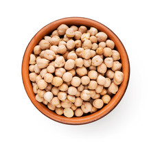 Raw Chickpea In Wooden Plate, ...