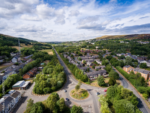 Aerial view of a UK roundabout and roads in a small welsh town called Blaina