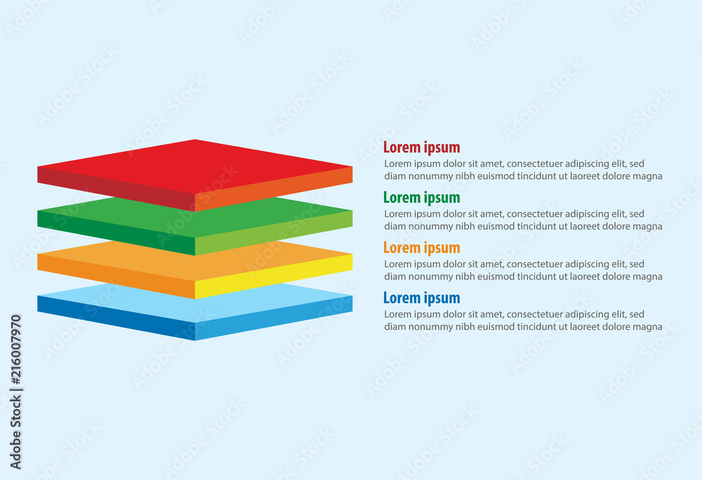 Fototapety, obrazy: Vector of four 3D square layers infographic template