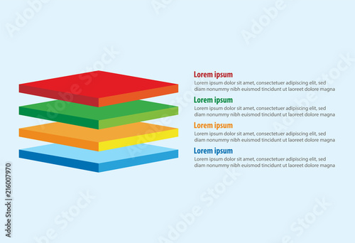 vector of four 3d square layers infographic template buy this