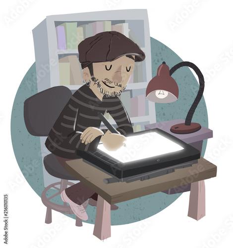 hombre ilustrador dibujando Tapéta, Fotótapéta