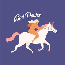 Girl Riding A White Unicorn Fu...