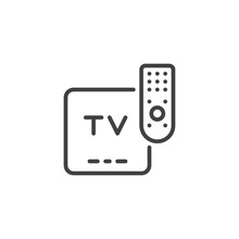 TV Remote Control Outline Icon. Linear Style Sign For Mobile Concept And Web Design. Television Controller Simple Line Vector Icon. Symbol, Logo Illustration. Pixel Perfect Vector Graphics