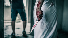 Ghost Woman Holding Knife For Kill A Man With In House. Horror. Halloween.