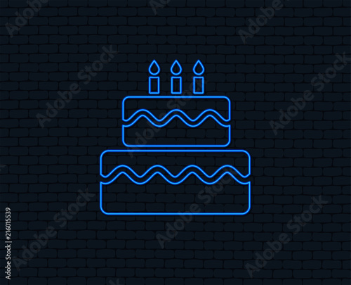 Birthday Cake Sign Icon With Burning Candles Symbol Glowing Graphic