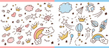 Set Of Doodle Seamless Pattern. Vector Background For Little Prince And Princess. Cute Girlish And Boyish Crown Hand Drawn Illustration. Trendy Baby Fabric, Kid Wallpaper. Space?magic, Stars And Dream