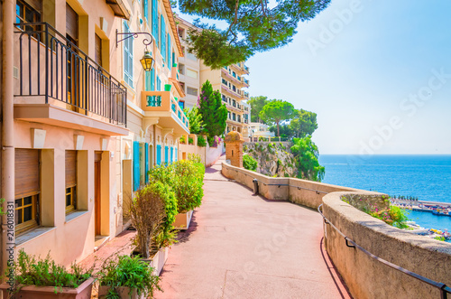 Monaco, Monte carlo. Monaco village with colorful architecture and street along the ocean.