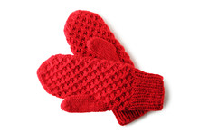 Knitted Red Gloves Isolated On...