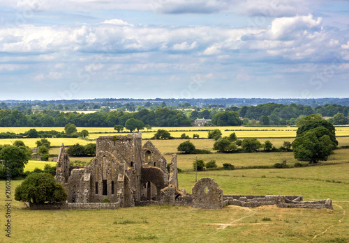 Fotobehang Europa Landscape with church ruins